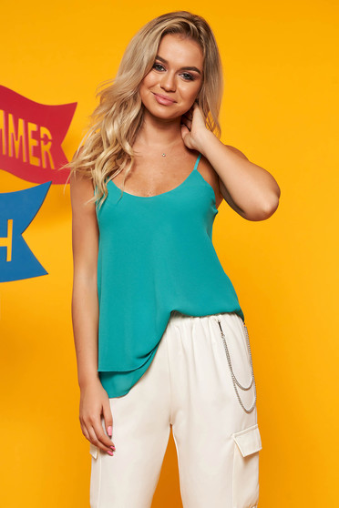 Turquoise top shirt casual flared from veil fabric adjustable straps