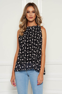 Black top shirt casual from veil fabric with floral print sleeveless