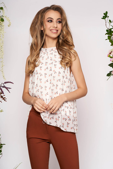 White top shirt casual from veil fabric with floral print sleeveless