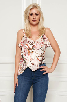Cream top shirt casual flared thin straps with ruffles on the chest with floral print
