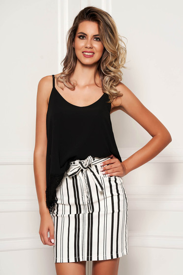 Black top shirt casual flared from veil fabric with straps