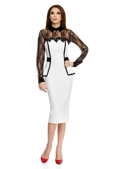 White occasional elegant midi pencil dress