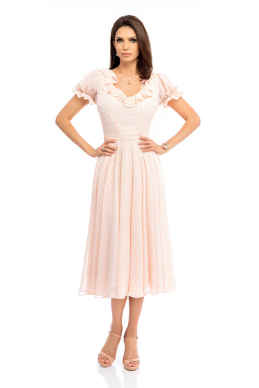 Peach dress with rounded cleavage elegant cloche midi