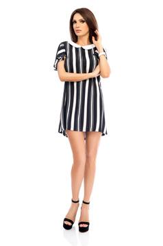 Darkblue dress short sleeves elegant straight short cut