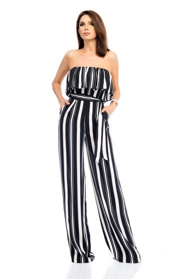 Darkblue jumpsuit accessorized with tied waistband elegant long with ruffles on the chest flared pants