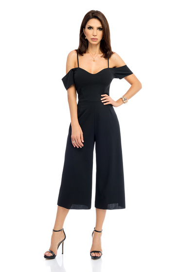 Black jumpsuit both shoulders cut out with rounded cleavage flared pants elegant