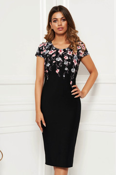 Black dress elegant daily pencil midi with floral print from elastic fabric from striped fabric