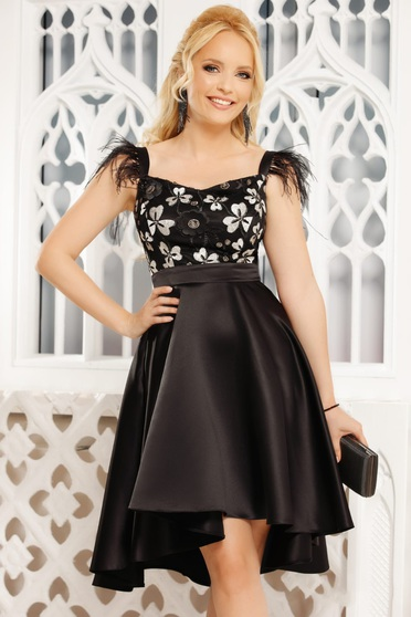 Black dress occasional elegant asymmetrical cloche from satin sleeveless