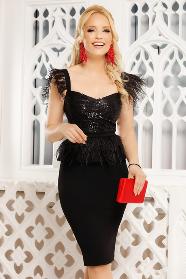 Black dress elegant occasional midi pencil peplum with deep cleavage with straps