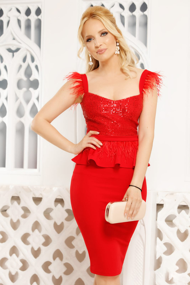 Red dress elegant occasional midi pencil peplum with deep cleavage with straps