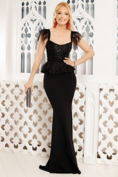 Black occasional mermaid cut dress with feather details