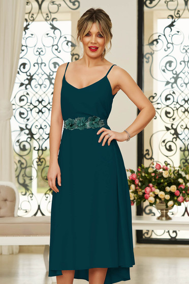 StarShinerS green occasional midi dress from veil fabric with v-neckline with straps accessorized with tied waistband