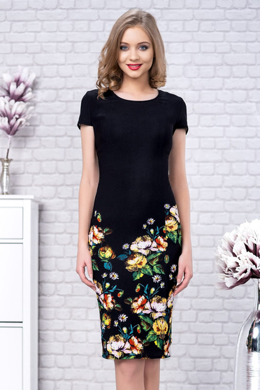Black dress from striped fabric midi pencil with floral print short sleeve elegant