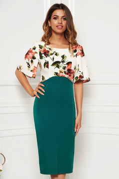 Green dress with butterfly sleeves elegant daily pencil midi with floral print slightly elastic fabric