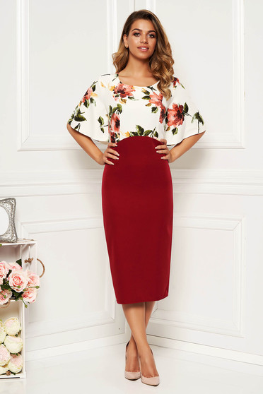 Burgundy dress with butterfly sleeves elegant daily pencil midi with floral print slightly elastic fabric