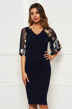 Darkblue dress elegant daily pencil with bell sleeve midi from elastic fabric