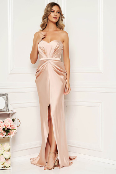 Ana Radu luxurious off shoulder dress from satin fabric texture with push-up bra accessorized with tied waistband cream