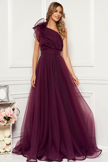 Ana Radu purple luxurious dress with inside lining accessorized with tied waistband one shoulder flaring cut