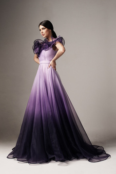 Ana Radu lila dress luxurious degrade cloche detachable cord from tulle
