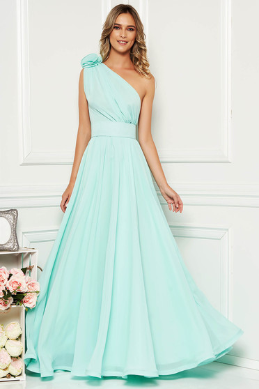 Ana Radu mint voile fabric one shoulder dress luxurious accessorized with tied waistband