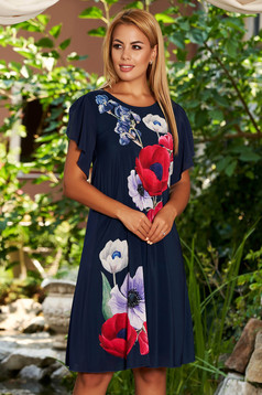 StarShinerS darkblue dress elegant midi flared from veil fabric with floral print with veil sleeves with butterfly sleeves