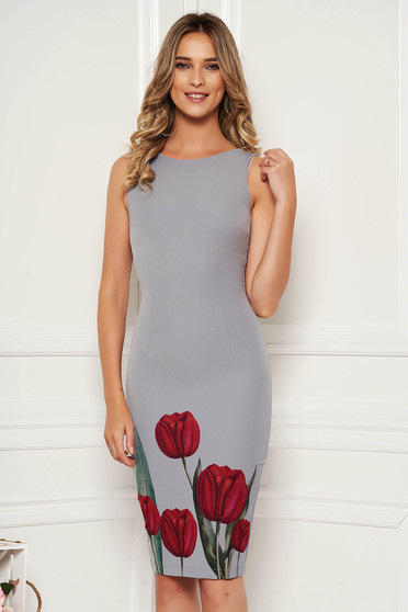 StarShinerS grey dress elegant occasional pencil with floral print with cut back neckline