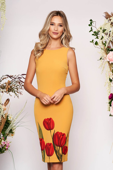 StarShinerS mustard dress elegant occasional pencil with floral print with cut back neckline