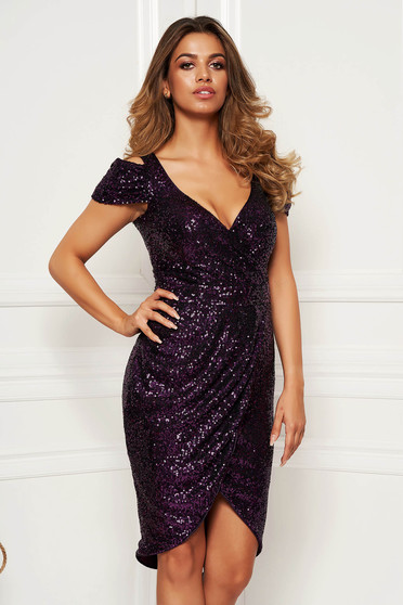 Purple dress elegant occasional asymmetrical both shoulders cut out with v-neckline