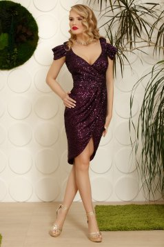 Purple dress elegant occasional asymmetrical both shoulders cut out with v-neckline