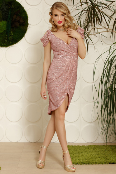 Lightpink dress elegant occasional asymmetrical both shoulders cut out with v-neckline