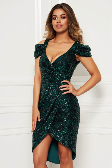 Green dress elegant occasional asymmetrical both shoulders cut out with v-neckline