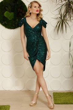 Green dress elegant occasional asymmetrical both shoulders cut out with v-neckline