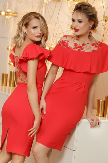 Coral dress midi pencil elegant lace and sequins details with ruffled sleeves