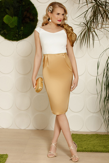 Cappuccino elegant dress pencil with an accessory from satin fabric texture midi