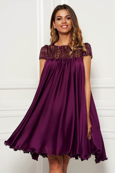 Purple dress short cut cloche daily airy fabric short transparent sleeves