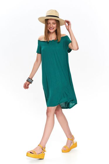 Green dress naked shoulders pressure-free border casual daily flared
