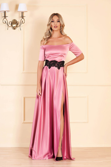 Occasional pink dress from satin fabric texture with embroidery details cloche long