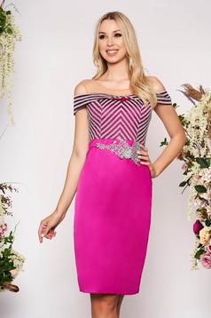 Purple dress from satin fabric texture elegant occasional midi pencil net shoulders