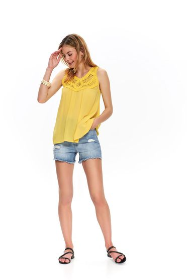 Yellow women`s blouse casual flared sleeveless
