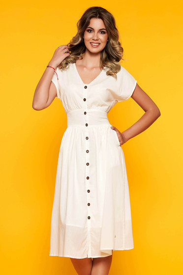 White dress casual midi with v-neckline accessorized with tied waistband cloche