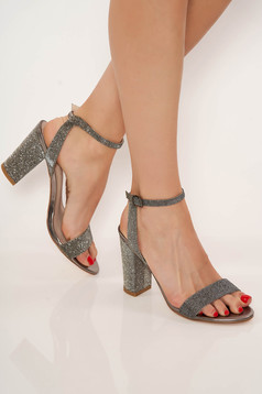 Silver sandals elegant from ecological leather chunky heel with thin straps