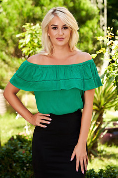 Green women`s blouse naked shoulders casual flared