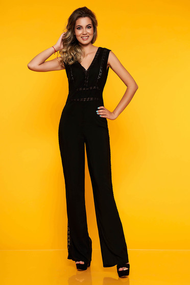 Black jumpsuit with v-neckline cut material flared