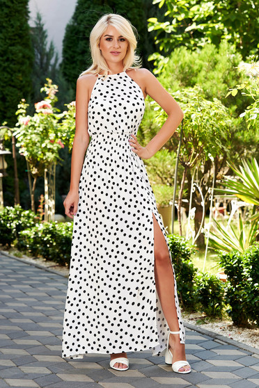 White dress casual daily dots print cut material sleeveless