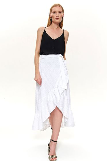 White skirt wrap over skirt casual asymmetrical midi wwith medium waist