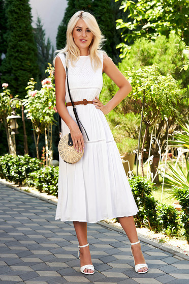 White dress daily midi sleeveless with rounded cleavage