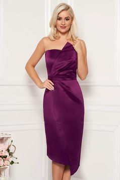 Purple occasional midi pencil dress from satin