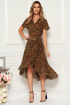 Brown dress daily asymmetrical from veil fabric with inside lining with butterfly sleeves