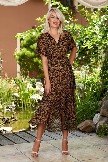 Brown dress daily asymmetrical from veil fabric with inside lining with butterfly sleeves midi short sleeve wrap around