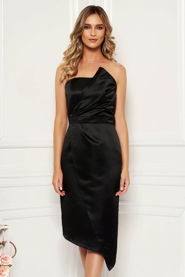 Black occasional midi pencil dress from satin
